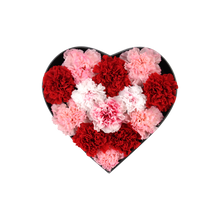 Load image into Gallery viewer, Preserved Real Carnations | Small Heart Classic Grey Box