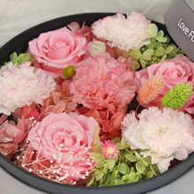 Load image into Gallery viewer, Preserved Real Carnations | Small Round Classic Grey Box - The Only Roses
