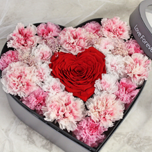 Load image into Gallery viewer, Preserved Real Carnations | Medium Heart Classic Grey Box - The Only Roses
