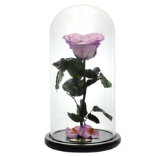 Load image into Gallery viewer, Purple Heart Shape Preserved Rose | Beauty and The Beast Glass Dome - The Only Roses