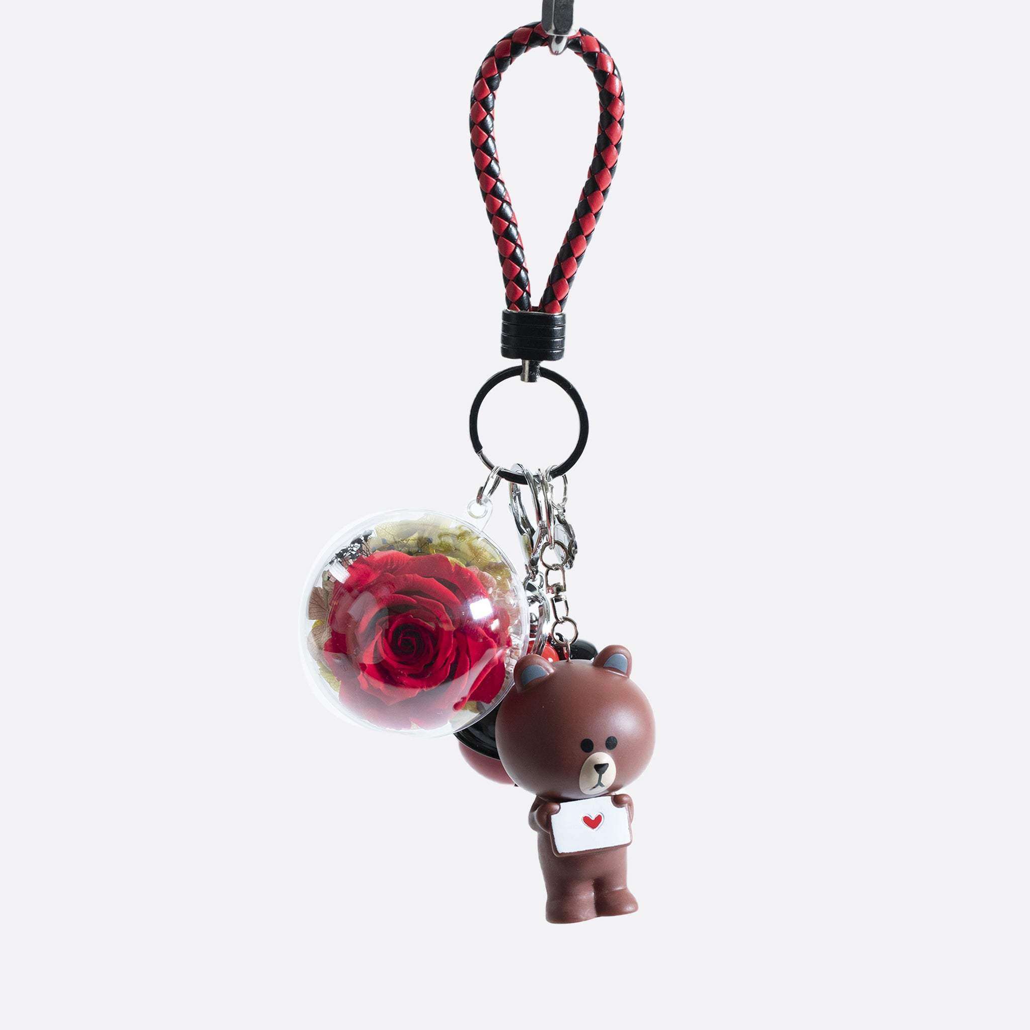 Brown Rose Bear Keychain