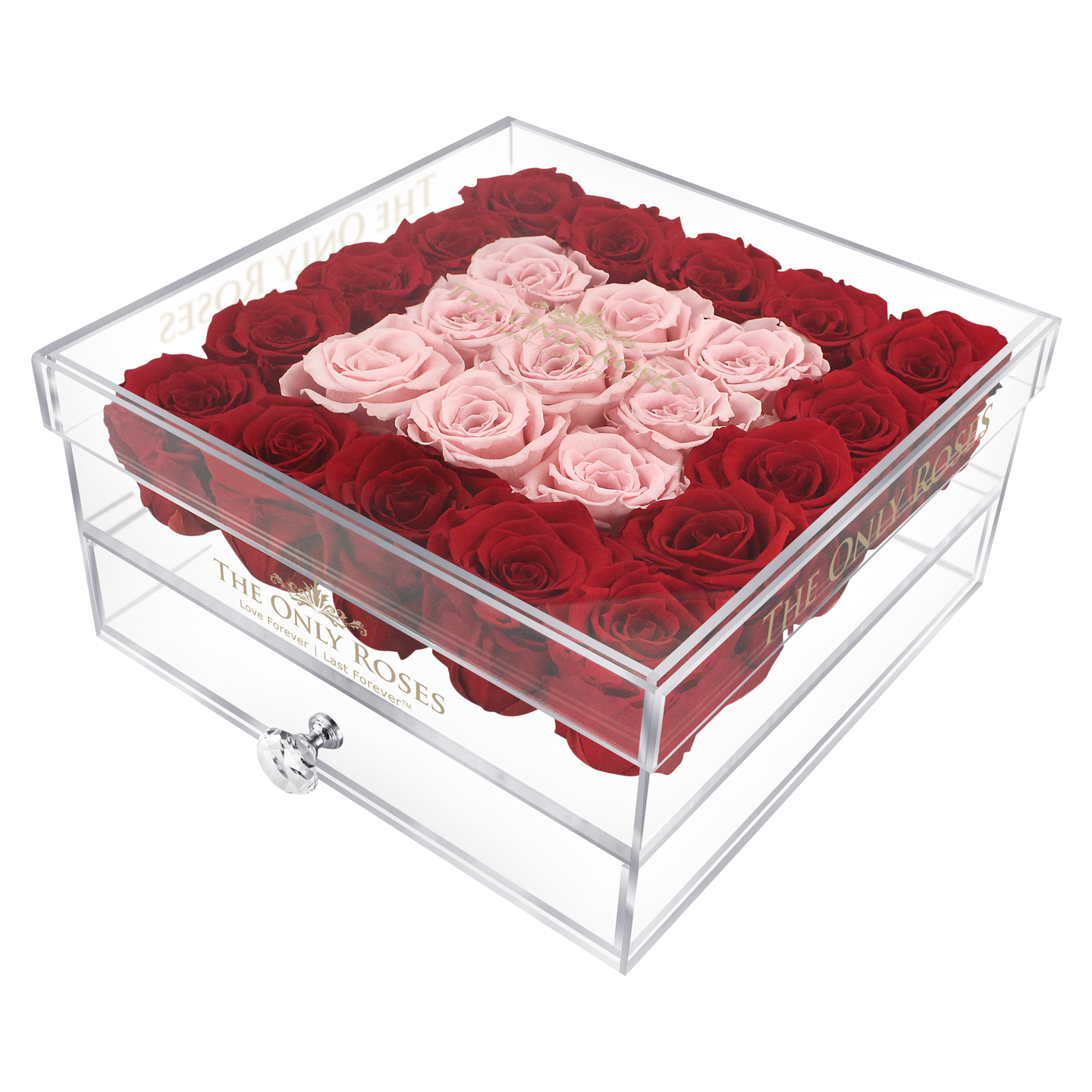 Red & Light Pink Preserved Roses | Large Acrylic Rose Box