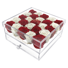 Load image into Gallery viewer, White & Red Preserved Roses | Large Acrylic Rose Box