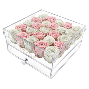White & Light Pink Color Preserved Roses | Large Acrylic Rose Box