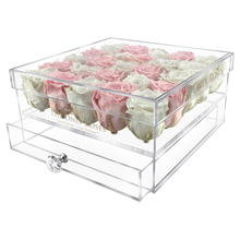 Load image into Gallery viewer, White & Light Pink Color Preserved Roses | Large Acrylic Rose Box