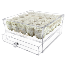 Load image into Gallery viewer, White Preserved Roses | Large Acrylic Rose Box