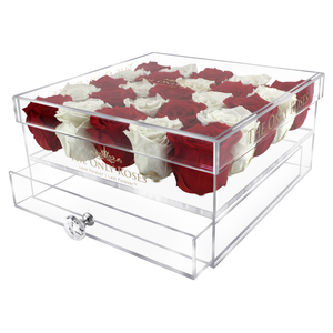 White & Red Preserved Roses | Large Acrylic Rose Box