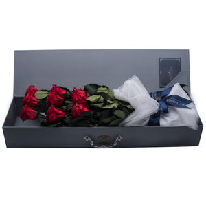 9 Long Stem Red Preserved Roses Luxury Bouquet - The Only Roses
