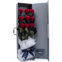 Load image into Gallery viewer, 9 Long Stem Red Preserved Roses Luxury Bouquet - The Only Roses