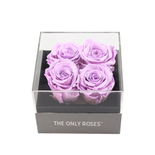Load image into Gallery viewer, Light Purple Preserved Roses | Small Square Classic Grey Box - The Only Roses