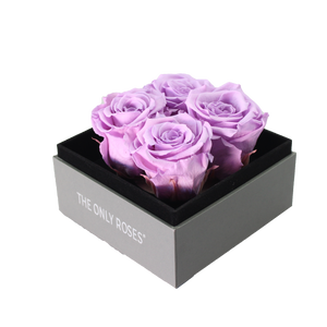 Light Purple Preserved Roses | Small Square Classic Grey Box - The Only Roses