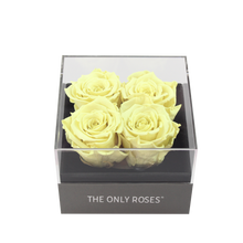 Load image into Gallery viewer, Light Yellow Preserved Roses | Small Square Classic Grey Box - The Only Roses