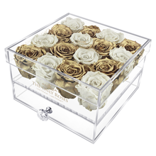 Load image into Gallery viewer, Gold & White Preserved Roses | Medium Acrylic Rose Box