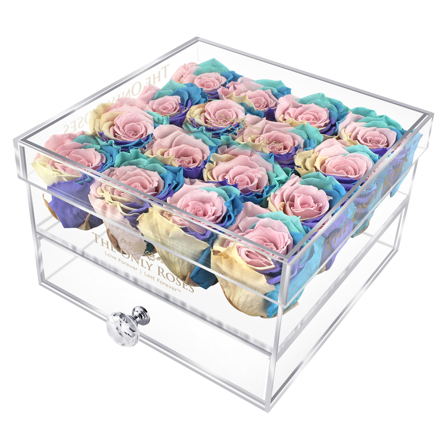 Candy Rainbow Color Preserved Rose | Medium Acrylic Rose Box