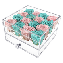 Load image into Gallery viewer, Light Pink & Tiffany Blue Preserved Roses | Medium Acrylic Rose Box