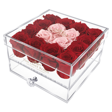 Load image into Gallery viewer, Red and Light Pink Color Preserved Roses | Medium Acrylic Rose Box