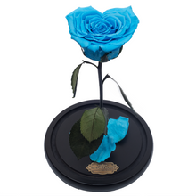 Load image into Gallery viewer, Blue Heart Shape Preserved Rose | Beauty and The Beast Glass Dome - The Only Roses