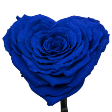 Load image into Gallery viewer, Royal Blue with Crystal Dust Heart Shape Preserved Rose | Beauty and The Beast Glass Dome - The Only Roses
