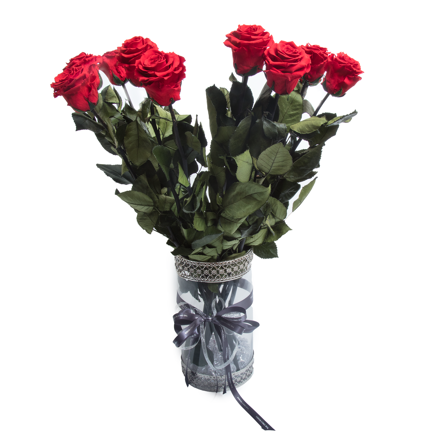 12 Long Stem Red Preserved Roses Luxury Bouquet In Glass Vase - The Only Roses