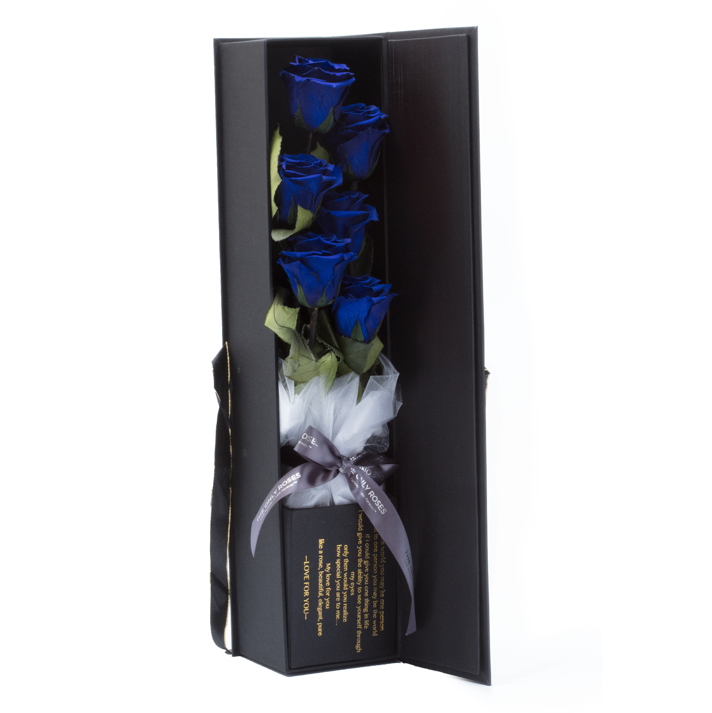 The Only Extra | 6 Royal Blue Preserved Long Stem Roses Bouquet - The Only Roses