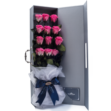 Load image into Gallery viewer, 12 Long Stem Pink Preserved Roses Luxury Bouquet - The Only Roses