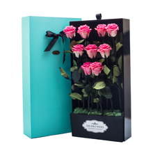 Load image into Gallery viewer, First Love | 9 Long Stem Pink Preserved Roses in Tiffany Blue Bouquet Box - The Only Roses