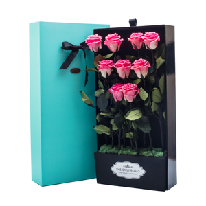 First Love | 9 Long Stem Pink Preserved Roses in Tiffany Blue Bouquet Box - The Only Roses