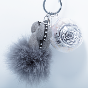 Silver Preserved Rose | Grey Fluffy Ball Keychain - The Only Roses