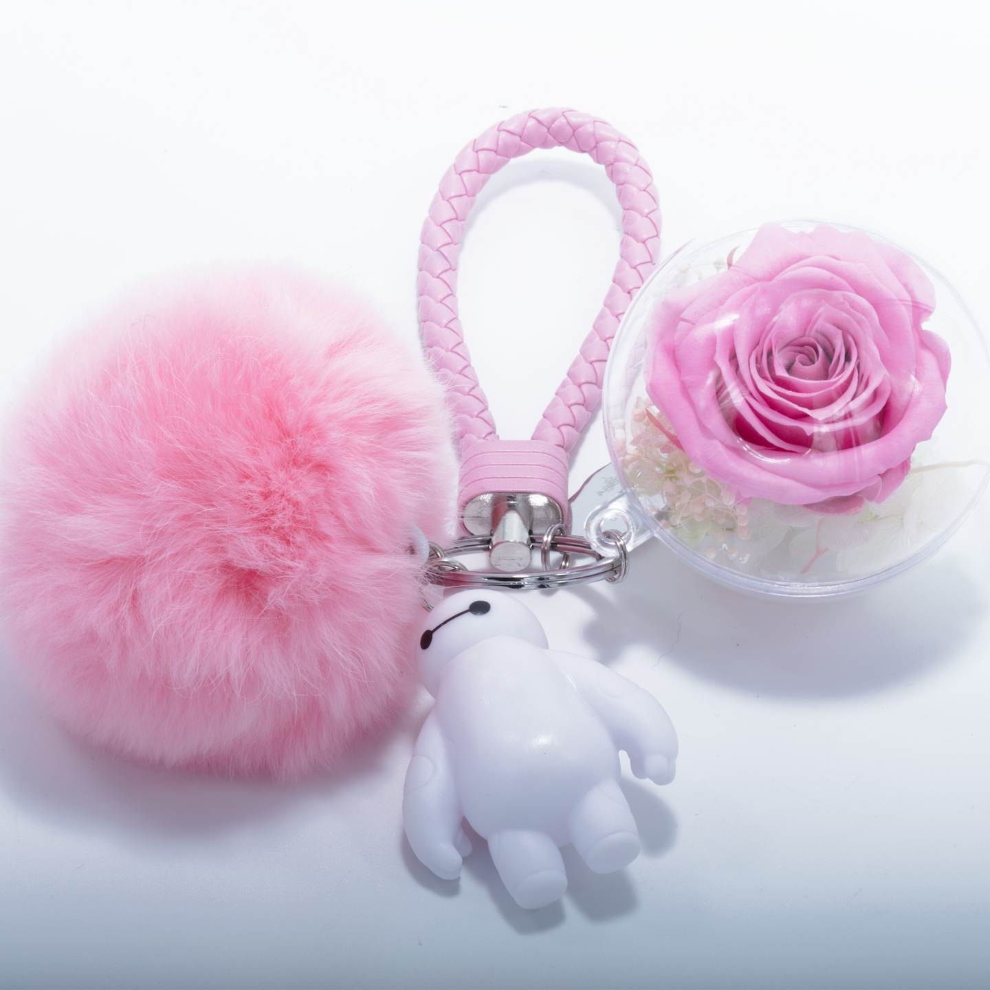 Pink Preserved Rose | Pink Fluffy Ball Keychain - The Only Roses