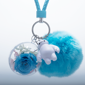 Blue Preserved Rose | Blue Fluffy Ball Keychain - The Only Roses