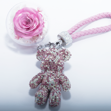 Load image into Gallery viewer, Pink Preserved Rose | Pink Crystal Rose Bear Keychain - The Only Roses