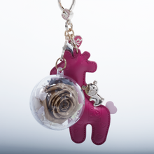 Load image into Gallery viewer, Gold Preserved Rose | Hot Pink Giraffe Keychain - The Only Roses