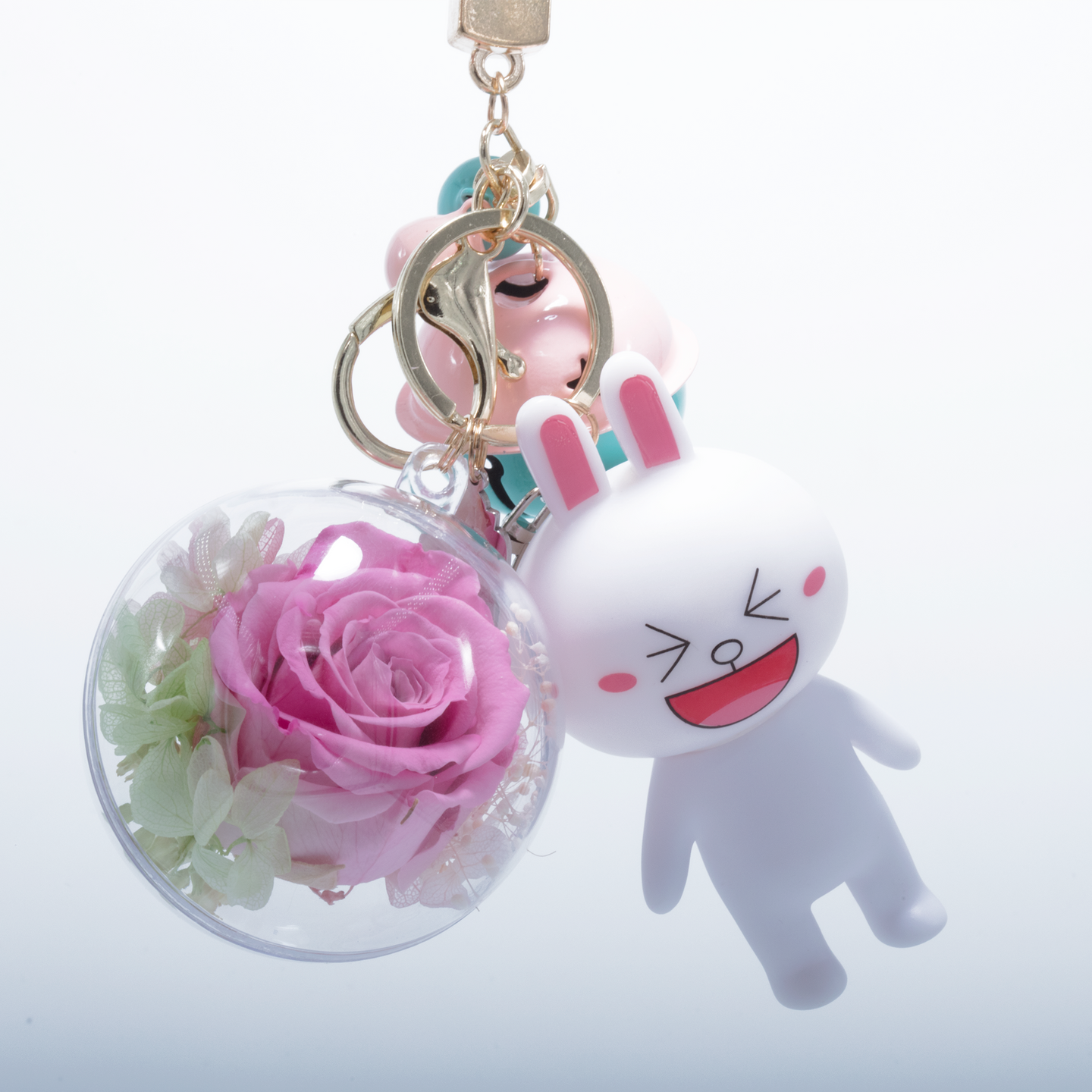 Pink Preserved Rose | White Rabbit Keychain - The Only Roses