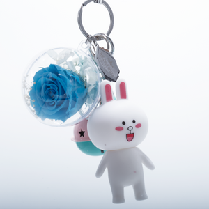 Blue Preserved Rose | White Rabbit Keychain - The Only Roses