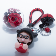 Load image into Gallery viewer, Red Preserved Rose | Cartoon Character Keychain