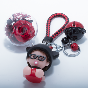 Red Preserved Rose | Cartoon Character Keychain