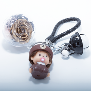 Gold Preserved Rose | Cartoon Character Keychain - The Only Roses