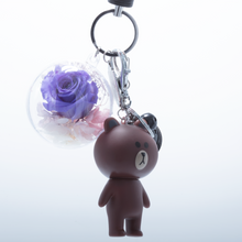Load image into Gallery viewer, Purple Preserved Rose | Brown Rose Bear Keychain