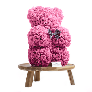 15 Inches Tall Giant Pink Preserved Rose Bear - The Only Roses