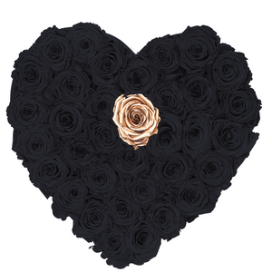 Black with One Gold Preserved Roses | Heart Black Huggy Rose Box - The Only Roses