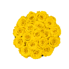 Load image into Gallery viewer, Yellow Preserved Roses | Small Round Black Huggy Rose Box - The Only Roses