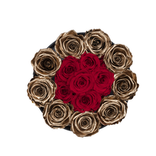 Load image into Gallery viewer, Gold & Red Preserved Roses | Small Round Black Huggy Rose Box - The Only Roses