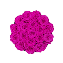 Load image into Gallery viewer, Hot Pink Preserved Roses | Small Round Black Huggy Rose Box - The Only Roses