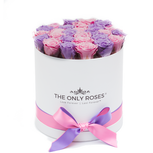 Light Pink & Light Purple Preserved Roses | Medium Round White Huggy Rose Box - The Only Roses