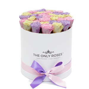 Candy Preserved Roses | Medium Round White Huggy Rose Box - The Only Roses