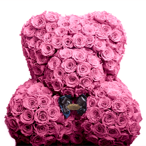 35 Inches Tall Giant Pink Preserved Rose Bear