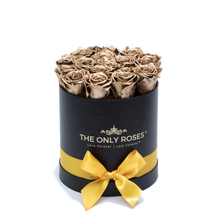 Load image into Gallery viewer, Gold Preserved Roses | Small Round Black Huggy Rose Box