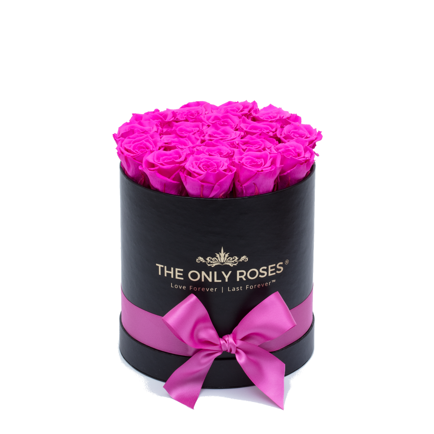 Hot Pink Preserved Roses | Small Round Black Huggy Rose Box - The Only Roses