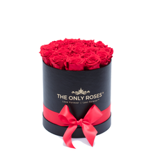 Load image into Gallery viewer, Red Preserved Roses | Small Round Black Huggy Rose Box - The Only Roses
