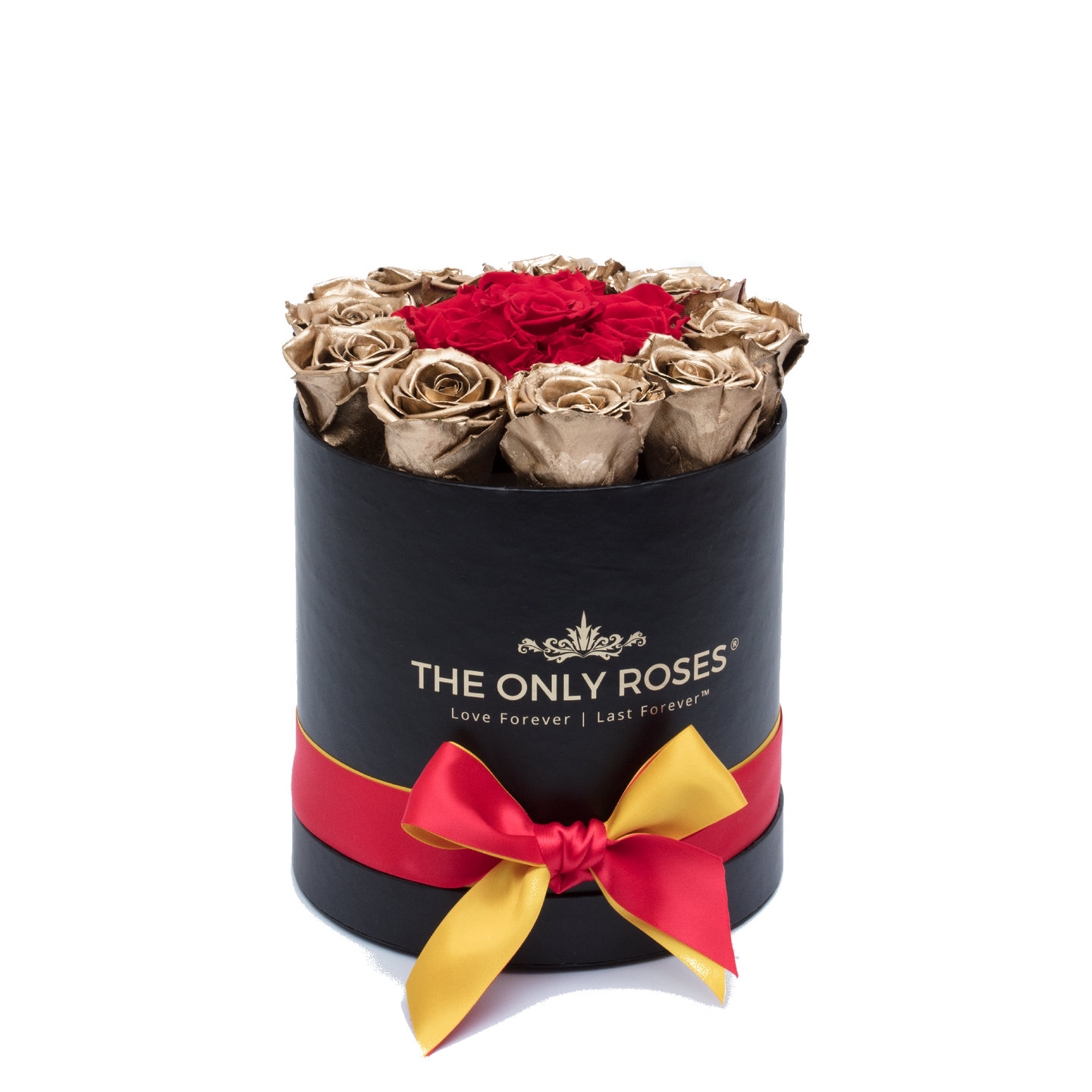 Gold & Red Preserved Roses | Small Round Black Huggy Rose Box - The Only Roses
